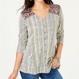 Style & Co Embellished Shoulder Long Sleeve Top